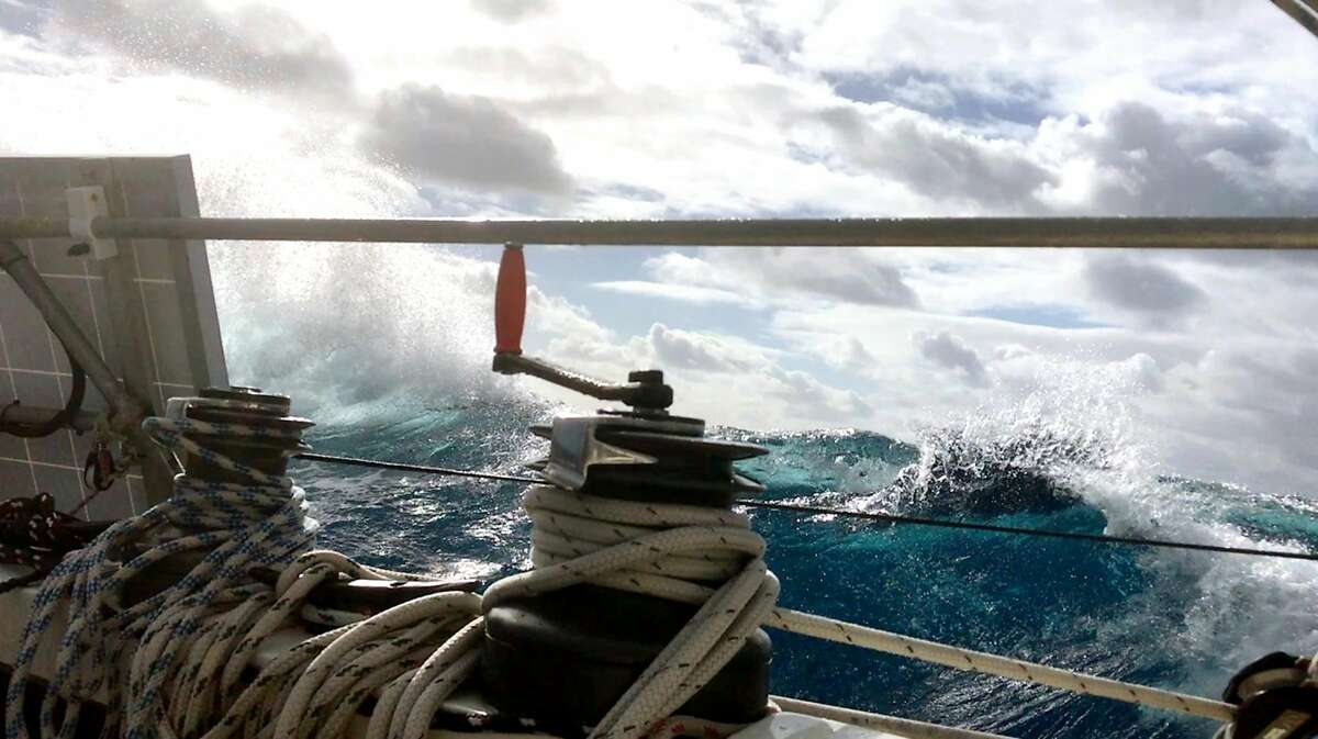 May 22, 2019 Noon Position: 36 36N 6116W- Moli and Reeves encounter rough seas inthe North Atlantic.