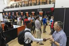 The University of Texas of the Permian Basin hosted a job fair Oct. 10, 2019 in the gym. More than 40 companies attended with openings for sales, engineers, teachers and managers.