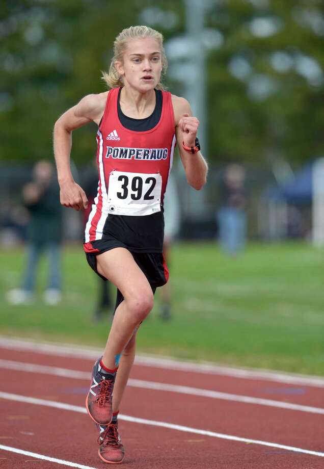 Pomperaug's Kate Wiser (392) finished first in the girls SWC cross country championship race with a time of 17:52.14, Friday afternoon, October 18, 2019, at Bethel High School, Bethel, Conn. Photo: H John Voorhees III / Hearst Connecticut Media / The News-Times