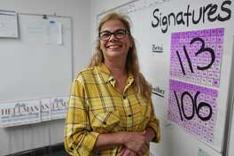 Betsi Hellman, Democratic candidate for Oxford first selectman, at her company's offices in Oxford, Conn. on Tuesday, September 24, 2019.