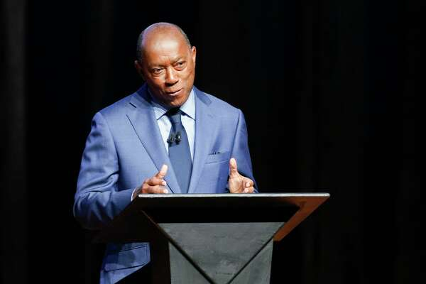 Houston Mayor Sylvester Turner answers question during a mayoral candidate debate at the Hobby Center on Wednesday, Oct. 2, 2019.