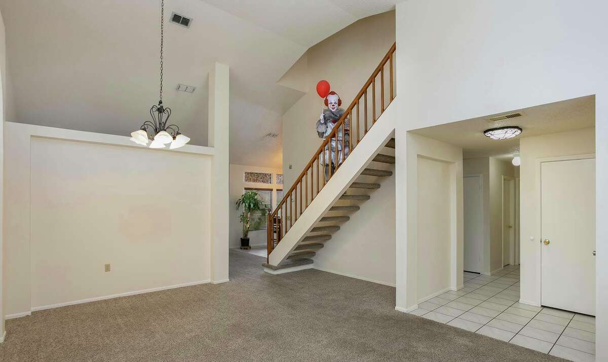 """Realtor Kristy Dakin told mySA.com she tapped into her spooky side to create the listing for the 9338 Chattanooga Drive home and dressedup as Pennywise from the horror movie """"It"""" for the staging pictures. She said the four-bedroom, two-story home hit the market Thursday night with photos featuring her as the clown."""