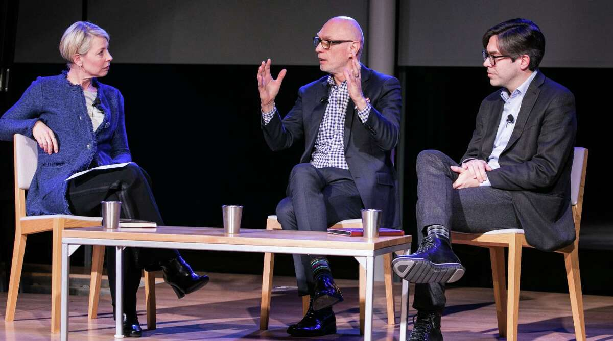 """From left, Lisa Lynne Kirkpatrick, Miroslav Volf and Matthew Croasmun gathered at Grace Farms in February to talk about their book, """"For the Life of the World: Theology that Makes a Difference."""""""