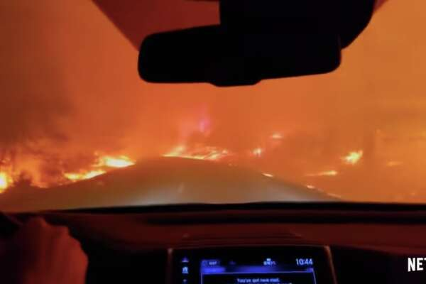 """A still from """"Fire in Paradise,"""" a Netflix documentary covering the 2018 Camp Fire in Butte County, Calif."""