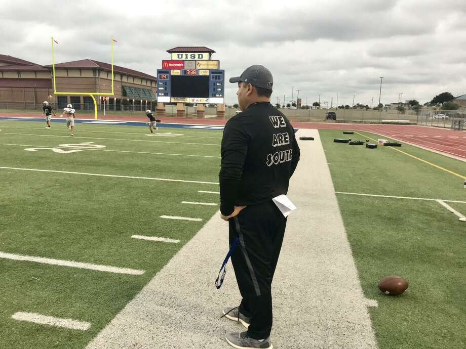 United South offensive coordinator Edwin Garcia was named the Assistant Coach of the Week in Texas. Photo: Chris Jackson /Laredo Morning Times