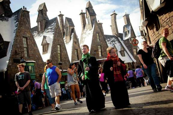 In the Wizarding World of Harry Potter theme park in Orlando, Fla., visitors can explore the village of Hogsmeade.
