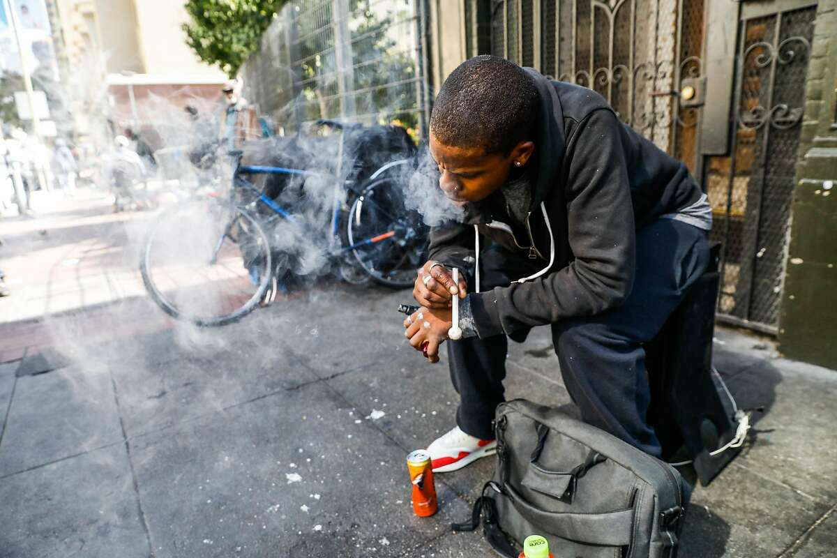 Rockey uses crystal meth on Ellis Street in San Francisco, California, on Monday, Oct. 14, 2019. A new report reveals 441 people died in San Francisco of an overdose in 2019. That is more than one drug-related death per day for an entire year, and an astronomical jump from the 259 overdoses recorded in 2018.