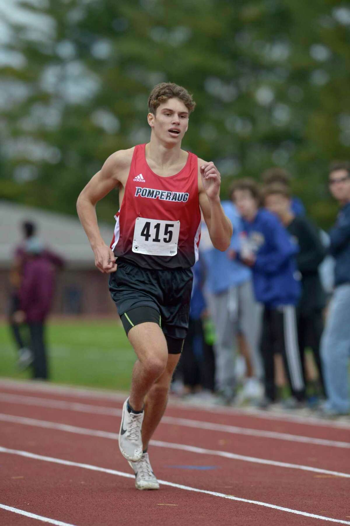 Pomperaug's Trey Generali (415) finished first in the boys SWC cross country championship race with a time of 16:39.15., Friday afternoon, October 18, 2019, at Bethel High School, Bethel, Conn.
