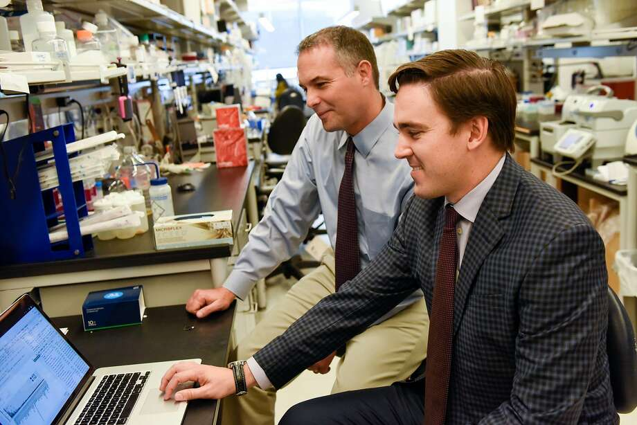 Michael Wilson and Ryan Schubert in their lab at the Sandler Neurosciences building at UCSF Mission Bay. Photo: Kate Munsch / Special To The Chronicle