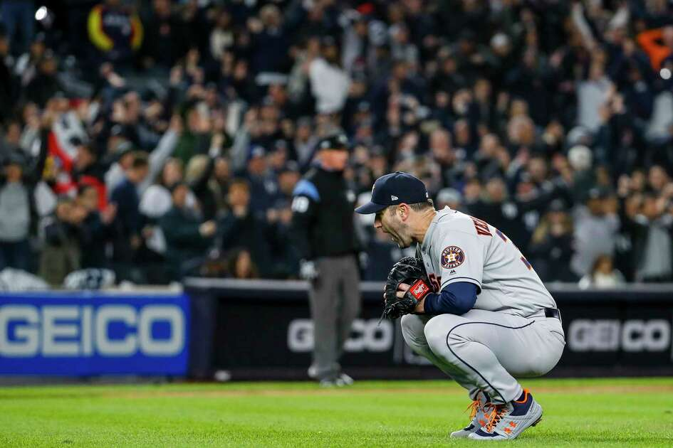 Houston Astros starting pitcher Justin Verlander (35) reacts after giving up a three-run home run to New York Yankees center fielder Aaron Hicks during the first inning of Game 5 of the American League Championship Series at Yankee Stadium on Friday, Oct. 18, 2019, in New York.