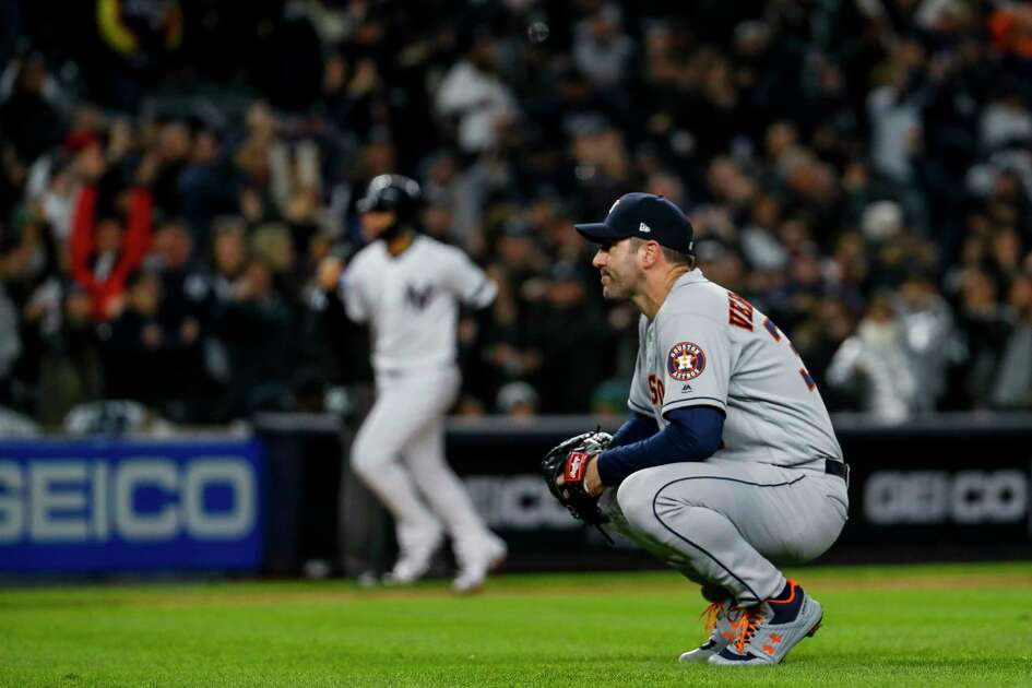Houston Astros starting pitcher Justin Verlander (35) after giving up a three-run home run to New York Yankees center fielder Aaron Hicks during the first inning of Game 5 of the American League Championship Series at Yankee Stadium on Friday, Oct. 18, 2019, in New York.