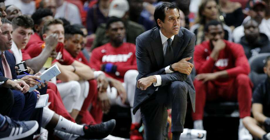 MIAMI, FLORIDA - OCTOBER 14:  Head coach Erik Spoelstra of the Miami Heat reacts against the Atlanta Hawks during the second half of the preseason game at American Airlines Arena on October 14, 2019 in Miami, Florida. NOTE TO USER: User expressly acknowledges and agrees that, by downloading and or using this photograph, User is consenting to the terms and conditions of the Getty Images License Agreement.  (Photo by Michael Reaves/Getty Images) Photo: Michael Reaves/Getty Images