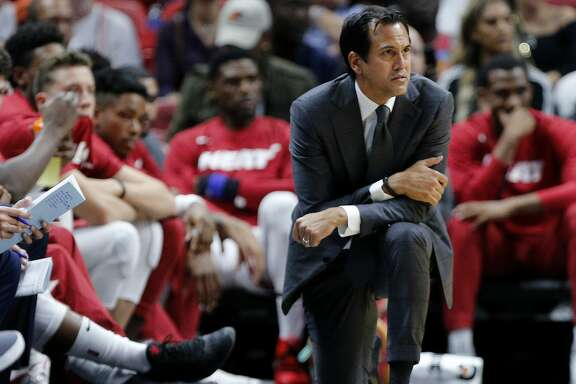 MIAMI, FLORIDA - OCTOBER 14:  Head coach Erik Spoelstra of the Miami Heat reacts against the Atlanta Hawks during the second half of the preseason game at American Airlines Arena on October 14, 2019 in Miami, Florida. NOTE TO USER: User expressly acknowledges and agrees that, by downloading and or using this photograph, User is consenting to the terms and conditions of the Getty Images License Agreement.  (Photo by Michael Reaves/Getty Images)