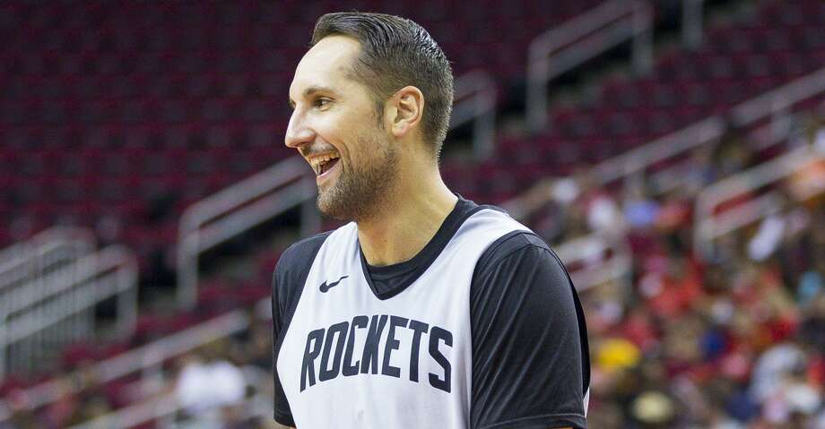 Houston Rockets forward Ryan Anderson laughs during a Houston Rockets practice open to fans at Toyota Center in Houston, Monday, Oct. 14, 2019. Photo: Mark Mulligan/Staff Photographer