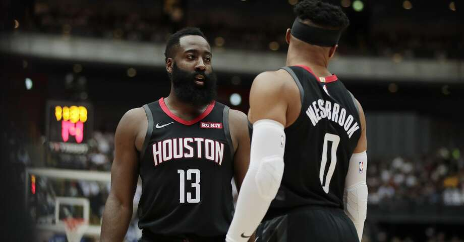 Houston Rockets' James Harden, left, talks to Russell Westbrook during the first half of an NBA preseason basketball game against the Toronto Raptors Tuesday, Oct. 8, 2019, in Saitama, near Tokyo. (AP Photo/Jae C. Hong) Photo: Jae C. Hong/AP