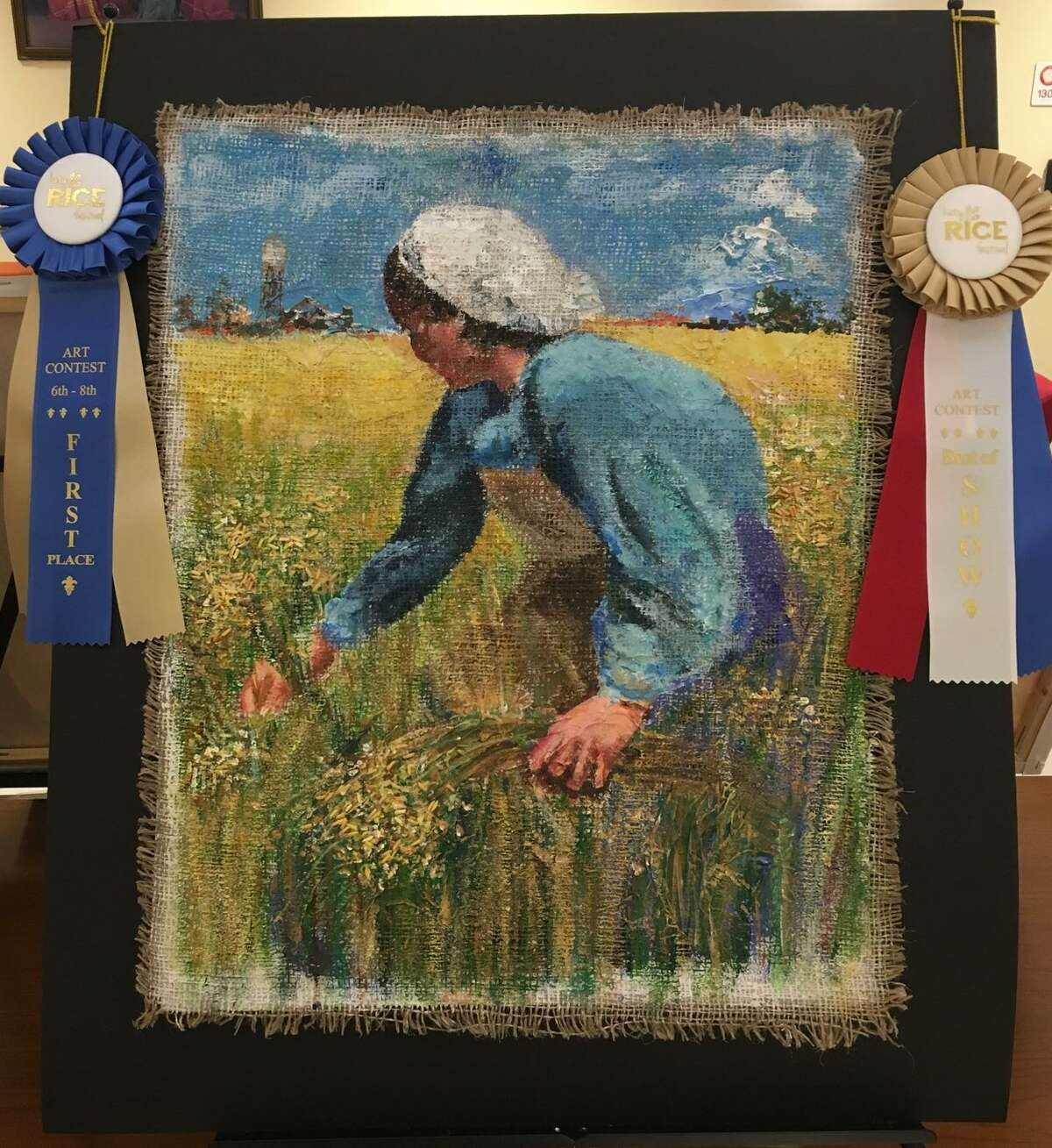 Memorial Parkway Junior High seventh-grader Jisoo Yoon won first-place in the category of grades 6-8 as well as Best in Show at the Katy Rice Festival art competition. Her artwork, an acrylic on reinforced burlap, is called