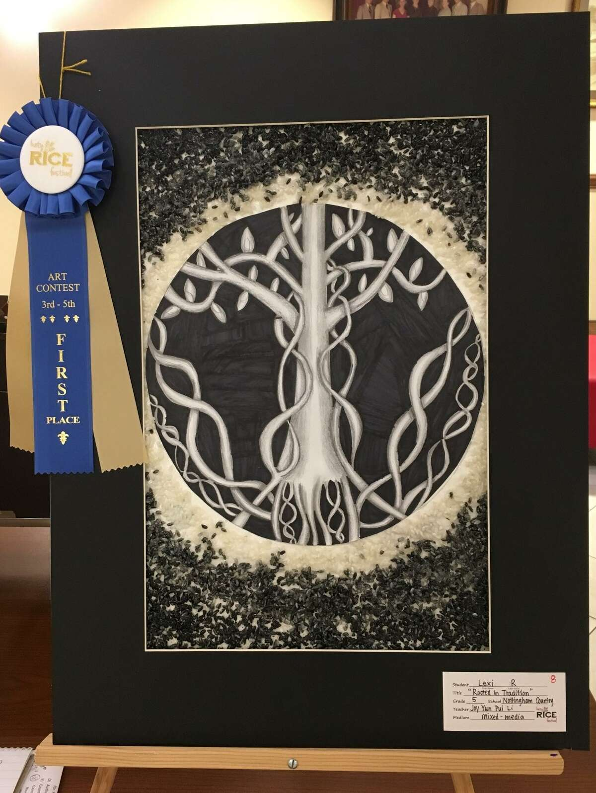 Nottingham Country Elementary fifth-grader Lexi Riner-Latimer won first place in the category of grades 3-5 at the Katy Rice Festival art contest. Her mixed-media artwork is called