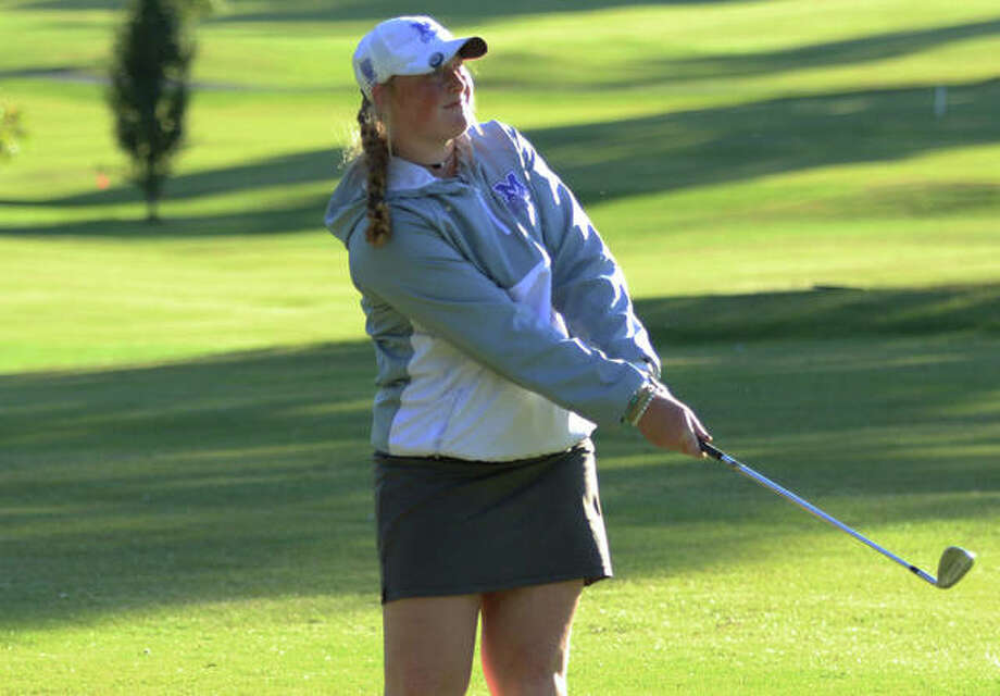 Marquette sophomore Gracie Piar was tied for eighth place in the individual standings after the first round of the IHSA Girls Class 1A State Golf Tournament in Decatur. She is shown in action earlier this season. Photo: Greg Shashack File | The Telegraph