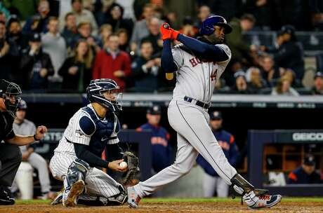 Houston Astros designated hitter Yordan Alvarez (44) strikes out against the New York Yankees during the eighth inning of Game 5 of the American League Championship Series at Yankee Stadium on Friday, Oct. 18, 2019, in New York.