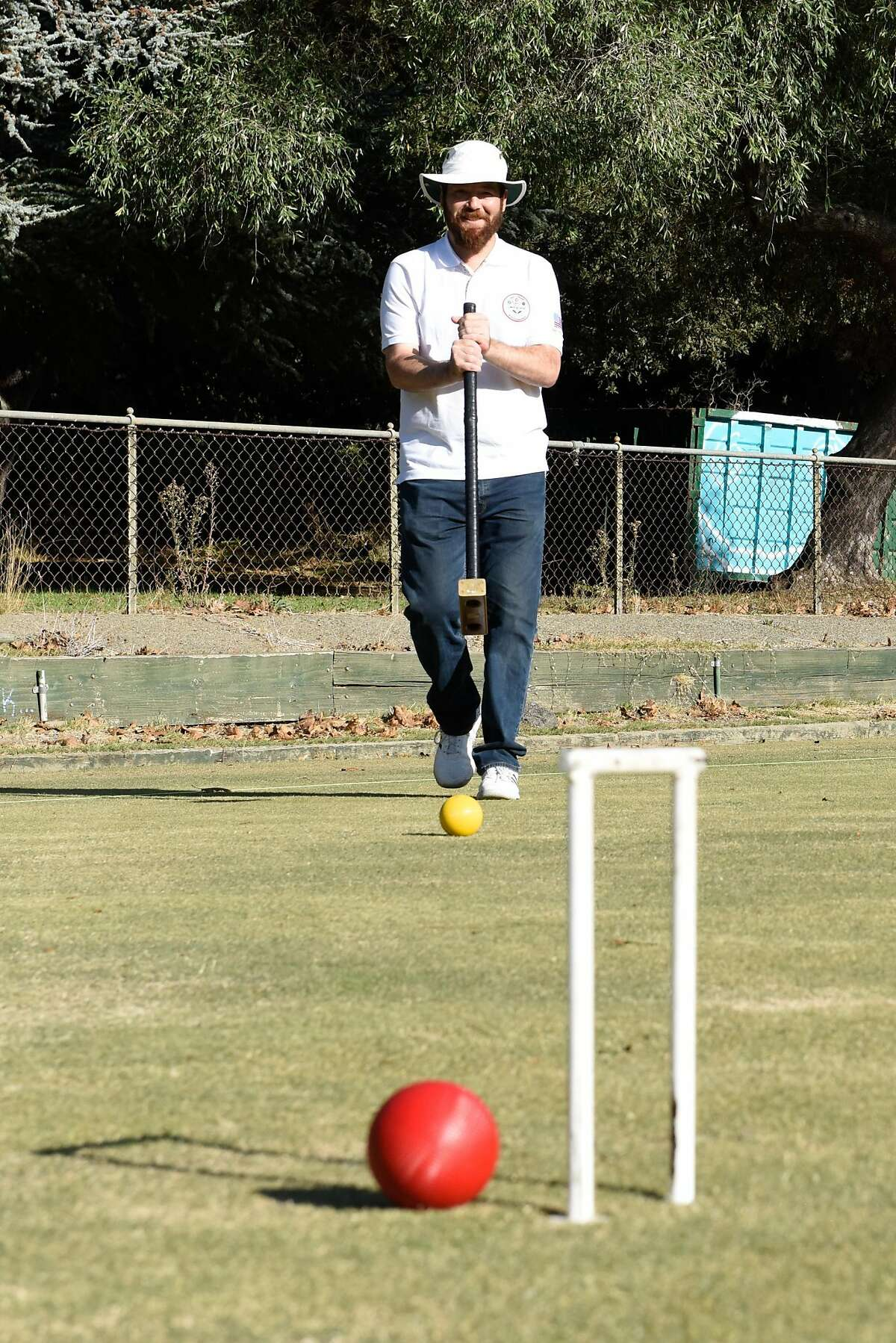 Ben Rothman, world champion of golf croquet, practices at the Oakland Croquet Club on October 17, 2019 in Oakland, Calif.