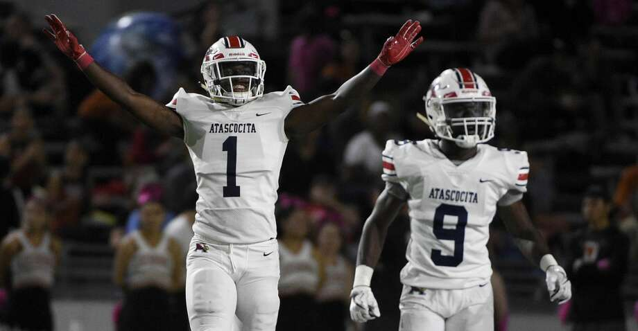 Atascocita defensive back Devyn Brooks (1) celebrates a defensive stop on third down during the first half of a high school football game against Dobie, Friday, Oct. 18, 2019, in Pasadena, TX. Photo: Eric Christian Smith/Contributor