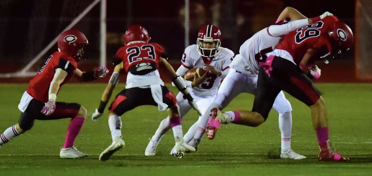 Cheshire, Connecticut - Friday, October 18, 2019: Cheshire H.S. football vs. Masuk H.S. first half action Friday at Cheshire H.S.
