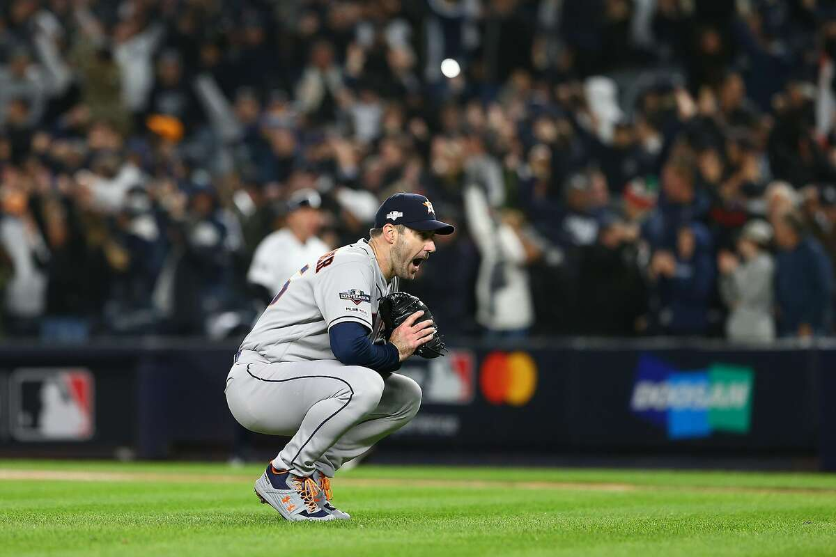 Astros ace Justin Verlander gives up a three-run homer to put the Yankees ahead 4-1 in the first inning.
