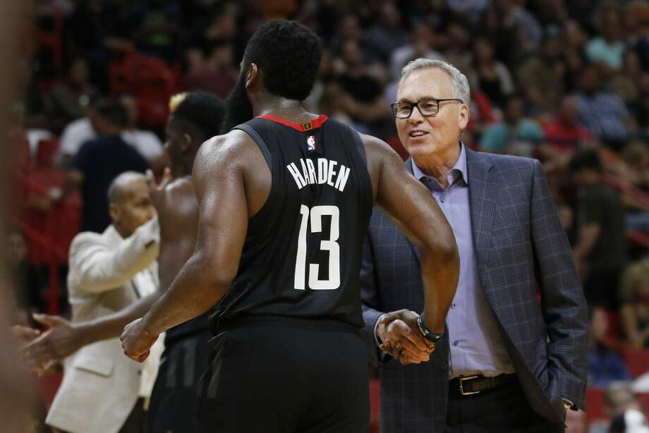 PHOTOS: Rockets preseason vs. Spurs  Houston Rockets coach Mike D'Antoni congratulates guard James Harden as Harden leaves in the fourth quarter of the team's NBA preseason basketball game against the Miami Heat on Friday, Oct. 18, 2019, in Miami. The Rockets won 144-133. (AP Photo/Joe Skipper) >>>See more photos from the Rockets' preseason finale ...  Photo: Joe Skipper/Associated Press