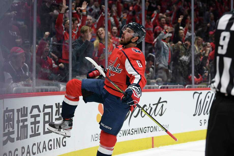 Washington Capitals defenseman Michal Kempny (6), of the Czech Republic, celebrates his goal during the first period of an NHL hockey game against the New York Rangers, Friday, Oct. 18, 2019, in Washington. (AP Photo/Nick Wass) Photo: Nick Wass / Copyright 2019 The Associated Press. All rights reserved.
