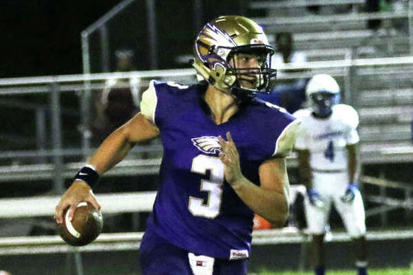 CM quarterback Noah Turbyfill was 21 of 34 for 342 yards, two touchdowns and one interception in his team's 21-20 win over Triad Friday in Troy.