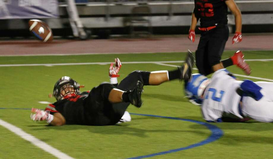Stevens Chris Jones fumbles after making a recovery but Stevens recovered his fumble in 28-6A football contest on Friday, October 18, 2019 at Gustafson Stadium. Stevens leads Jay at halftime 28-7. Photo: Ronald Cortes/Contributor / 2019 Ronald Cortes
