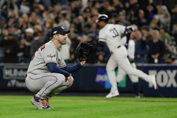 Houston Astros starting pitcher Justin Verlander (35) reacts after giving up a three-run home run against the New York Yankees during the first inning of Game 5 of baseball's American League Championship Series, Friday, Oct. 18, 2019, in New York.