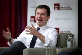 Democratic presidential candidate South Bend, Indiana Mayor Pete Buttigieg answers questions during a visit to the University of Chicago on October 18, 2019 in Chicago, Illinois.