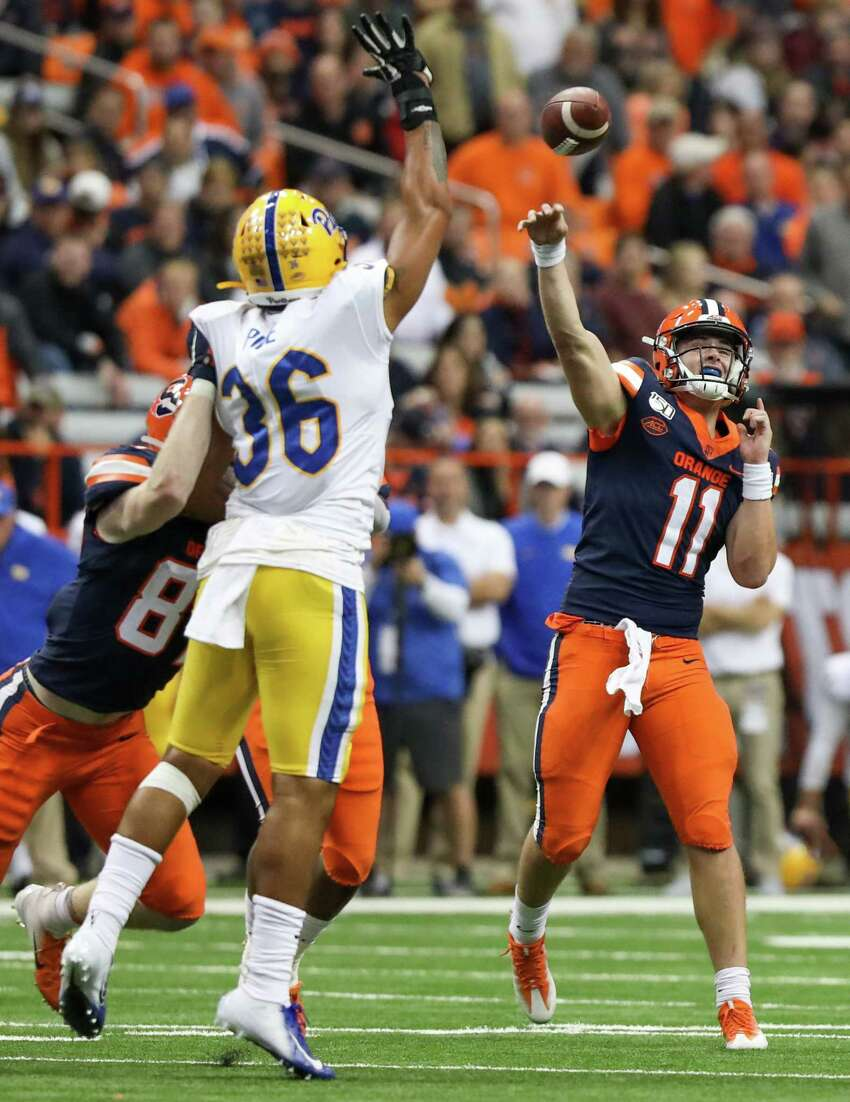 Syracuse quarterback Clayton Welch passes the football during the Orange's game against the Pitt Panthers on Friday, Oct. 18, 2019 in the Carrier Dome in Syracuse, N.Y. Welch stepped in for starting quarterback Tommy DeVito, who was injured during a play in the 3rd quarter. Pitt won 27-20.