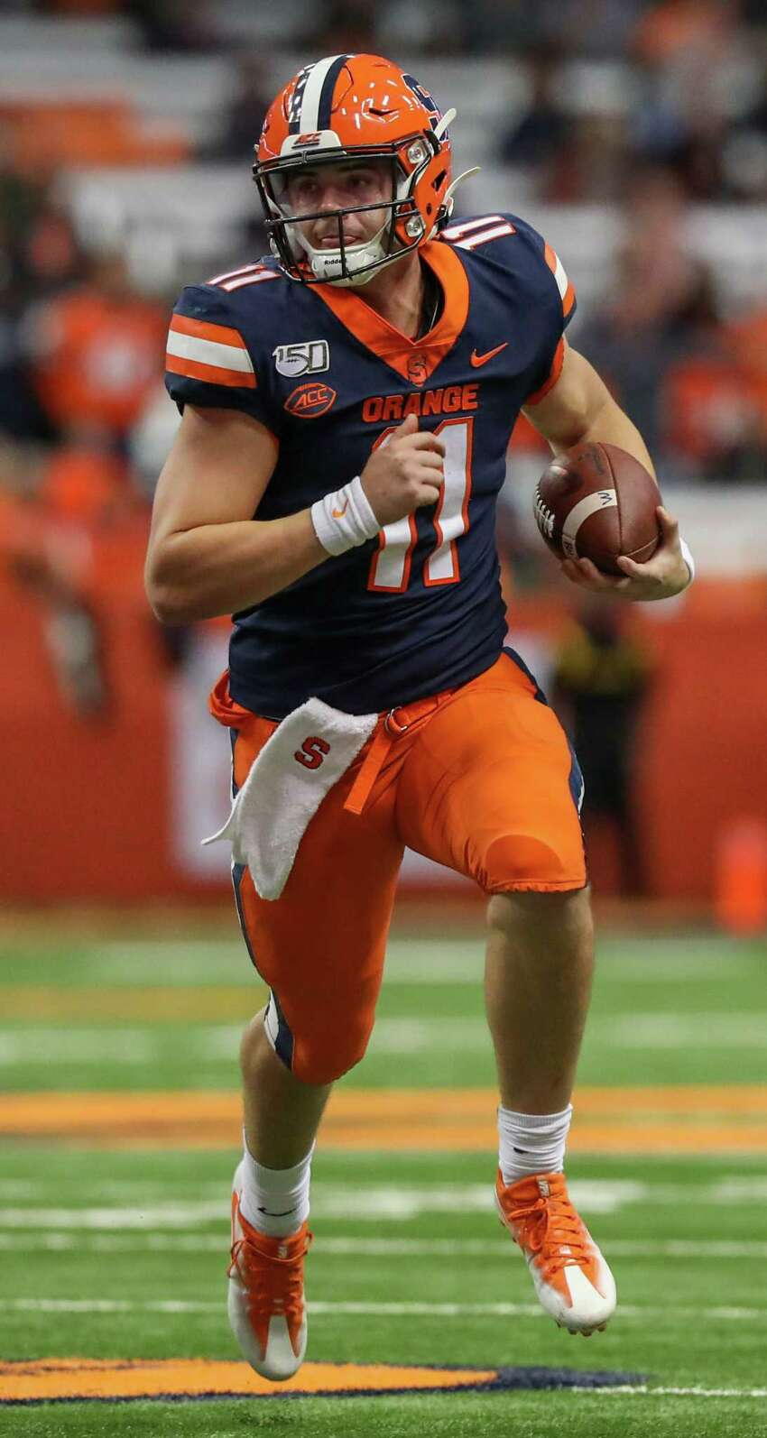 Syracuse quarterback Clayton Welch scrambles during the Orange's game against the Pitt Panthers on Friday, Oct. 18 in the Carrier Dome in Syracuse, N.Y. Welch stepped in for starting quarterback Tommy DeVito, who was injured during a play in the 3rd quarter. Pitt won 27-20.