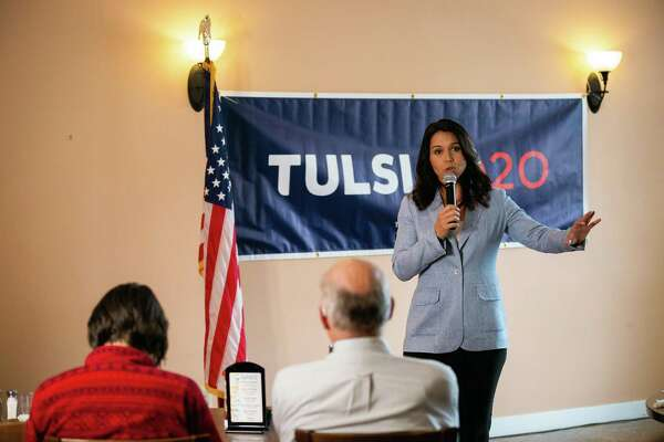 "Democratic presidential candidate Rep. Tulsi Gabbard (D-Hawaii) speaks at a campaign event in Berlin, N.H., on Oct. 11, 2019. In a podcast interview on Friday, Oct. 18, former Secretary of State Hillary Clinton suggested that Gabbard was being ""groomed"" by Russia to run a third-party presidential campaign. (Elizabeth Frantz/The New York Times)"