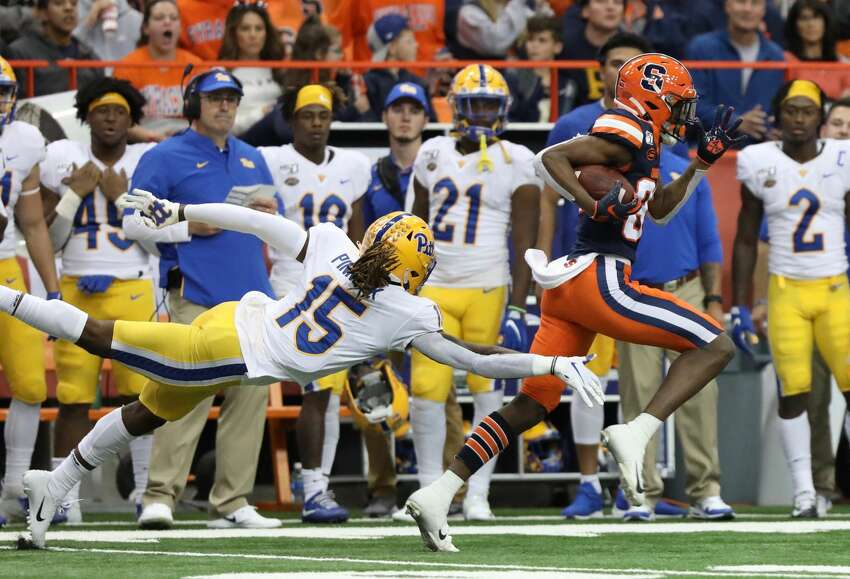 Syracuse wide receiver Taj Harris catches a pass from quarterback Clayton Welch in the 3rd quarter after starting quarterback Tommy DeVito suffered an injury earlier in the game against the Pitt Panthers on Friday, Oct. 18, 2019 at the Carrier Dome in Syracuse, N.Y. (Jay W. Bendlin/Special to the Times Union)