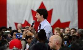 Liberal leader Justin Trudeau holds a campaign rally in Vaughan, Ontario, on Friday, Oct. 18, 2019. (Sean Kilpatrick/The Canadian Press via AP)