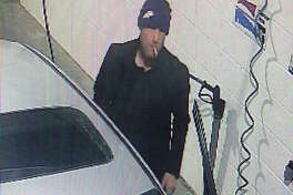 Surveillance cameras caught this image of a man leaving at the time of a robbery at the Jiffi Stop in Barry.