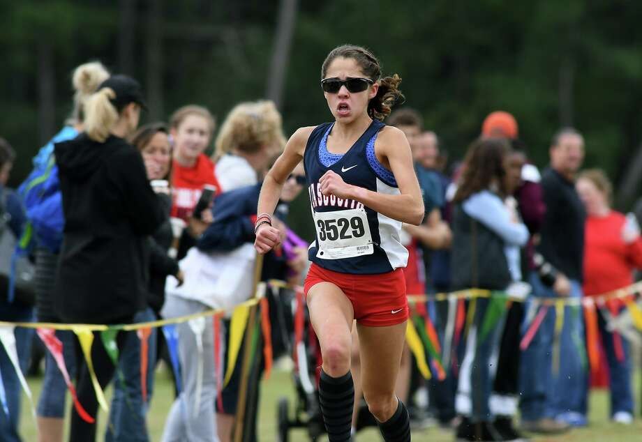 Atascocita's Avery Clover pushes to a first place finish in the Girls Varsity race at the 2019 District 22-6A Cross Country Championships at Atascocita High School on Oct. 17, 2019. Photo: Jerry Baker, Houston Chronicle / Contributor / Houston Chronicle