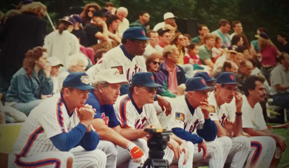 Members of the 1969 New York Mets watch a charity softball game on Sept. 24, 1994 at Havemeyer Field in Greenwich, Conn. The lineup included, from left, Jerry Grote, Ed Kranepool, Ron Swoboda, Donn Clendendon (standing), Bud Harrelson and Art Shamsky.