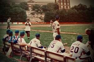 Members of the 1969 New York Mets watch a charity softball game on Sept. 24, 1994 at Havemeyer Field in Greenwich, Conn.