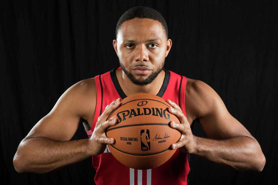 Houston Rockets guard Eric Gordon poses for a photo during Rockets Media Day on Friday, Sept. 27, 2019, in Houston.