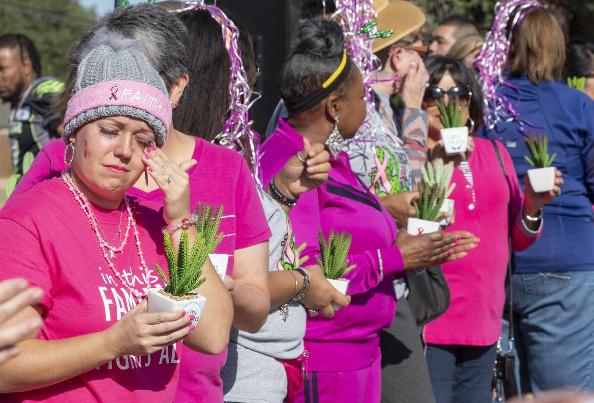 Cancer survivors are recognized 10/19/19 during the annual Pink the Park Breast Cancer Awareness at Grafa Park. Tim Fischer/Reporter-Telegram