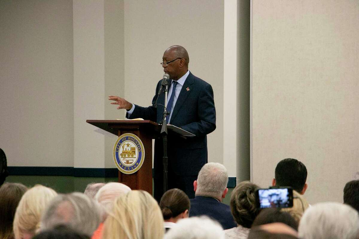 Mayor Sylvester Turner attended Council Member Dave Martin's town hall on Oct. 17 in Kingwood.