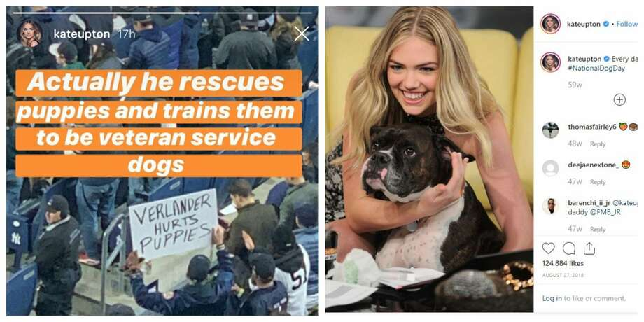 "When a Yankees fan waved a sign that read, ""Verlander hurts puppies,"" Astros' star wife Kate Upton wasn't about to let those 'hater words' stand.