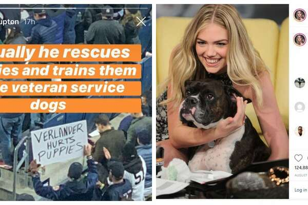 "When a Yankees fan waved a sign that read, ""Verlander hurts puppies,"" Astros' star wife Kate Upton wasn't about to let those 'hater words' stand. She snapped back on Instagram with this reply, ""Actually he rescues puppies and trains them to be veteran service dogs."""