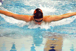 Edwardsville's Josie Bushell finished first in the in the 200-yard freestyle and the 400 individual medley at Saturday's Swim For Hope Meet at the Chuck Fruit Aquatic Center.