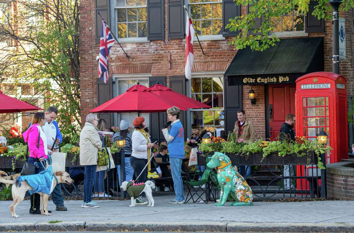 Dogs and their owners gather at The Olde English Pub on Broadway in Albany during the Hounds of Halloween3, a benefit hosted by the Albany Business Improvement District where dogs and their owners trick-or-treat through downtown Albany to benefit the Mohawk Hudson Humane Society on Saturday, Oct. 19, 2019 (Jim Franco/Special to the Times Union.)