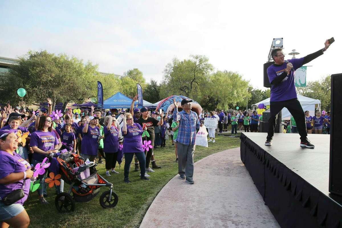 """Thousands of people gather at Palo Alto College to take part in the """"Walk to End Alzheimer's"""" event on Saturday, Oct. 19, 2019. Money was raised to fund research about the disease."""